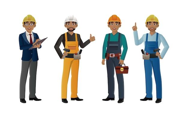 Set di lavoratore con pose diverse