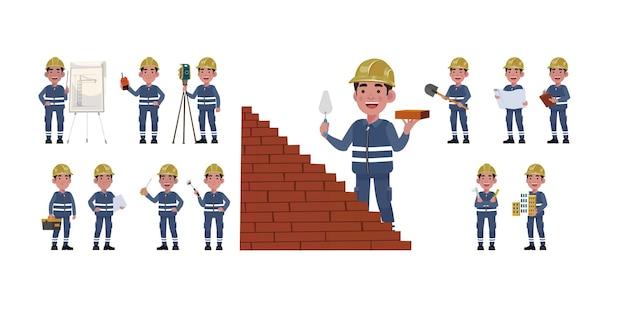Set di lavoratori con diverse pose