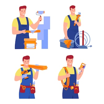 Insieme di lavoratori di varie costruzioni, professioni di riparazione. imbianchino, elettricista, falegname, idraulico.