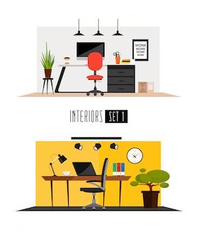 Set di interni funzionanti in stile minimalista piatto. interni di luoghi di lavoro o attività commerciali