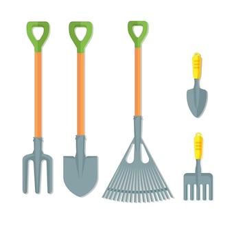 Set di strumenti di lavoro per il giardinaggio illustrazione vettoriale isolato su sfondo bianco. strumenti in acciaio inossidabile per terreni di coltivazione