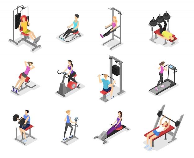 Set di allenamento per uomini e donne su macchine per esercizi.