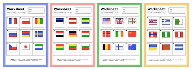 Imposta il foglio di lavoro sulla geografia per i bambini in età prescolare e scolastica. quale bandiera del paese. con risposte.