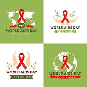 Insieme dell'illustrazione di vettore del modello di logo della giornata mondiale dell'aids dell'hiv in sfondo verde