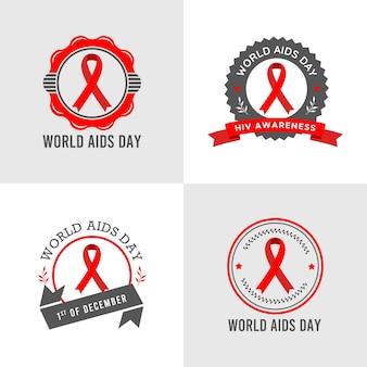 Insieme dell'illustrazione di vettore del modello di logo della giornata mondiale dell'aids dell'hiv in sfondo grigio