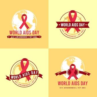 Insieme dell'illustrazione di vettore del modello di logo della giornata mondiale dell'aids dell'hiv in sfondo giallo