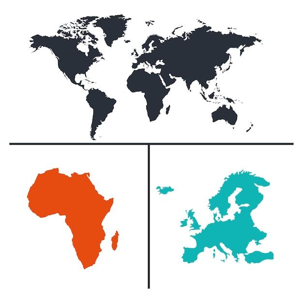 Set di mappe del mondo