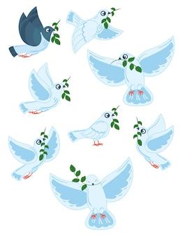 Set di piccioni del mondo con un ramo di un'oliva. collezione di colombe bianche volanti.