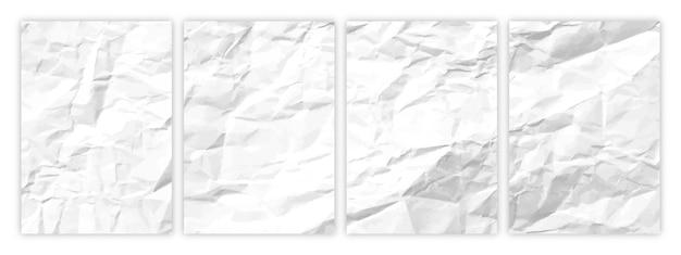 Set di carta bianca spiegazzata in formato a4. fogli di carta vuoti sgualciti con ombra per poster e striscioni. illustrazione vettoriale
