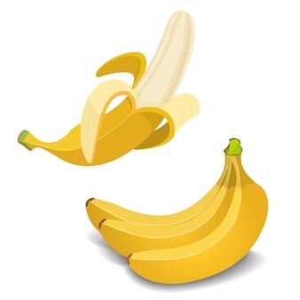Set di banane gialle.