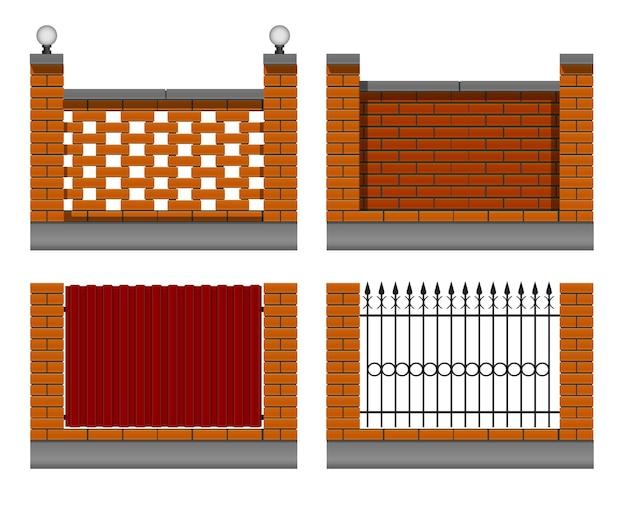 Set di muri di mattoni gialli con una recinzione di metallo forgiato