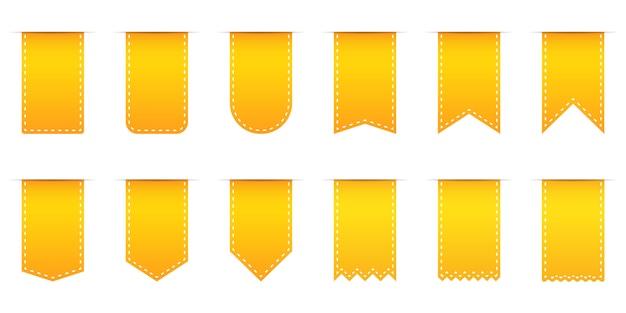 Set di tag dello shopping diversi gialli
