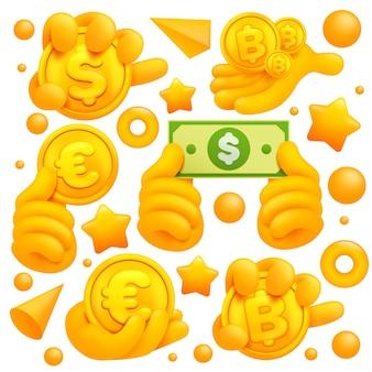 Set di icone e simboli di mano gialla emoji. dollaro, segni di monete d'oro euro bitcoin.