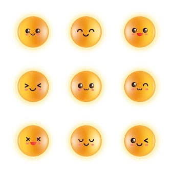Set emoji faccia gialla, cerchio tuorlo scintillante, globi luminosi, tuorlo lucido, uova di gallina