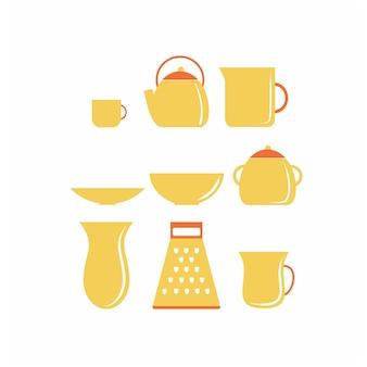 Un set di utensili da cucina gialli e articoli per la casa. un bicchiere, un bollitore, una ciotola per il tè. illustrazione piana di vettore. clipart sul tema della cucina. icone per caffè, ristoranti, bar e cucine.