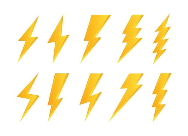 Set di simboli di fulmini gialli