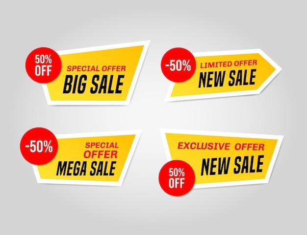 Set di adesivi del sito web di vendita giallo e rosso su sfondo grigio