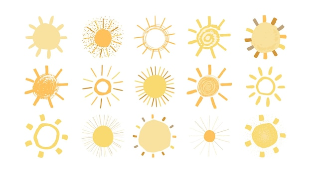 Set di soli gialli in stile disegnato a mano isolato su priorità bassa bianca. illustrazione semplice divertente sveglia per i bambini. icone del sole. vettore.