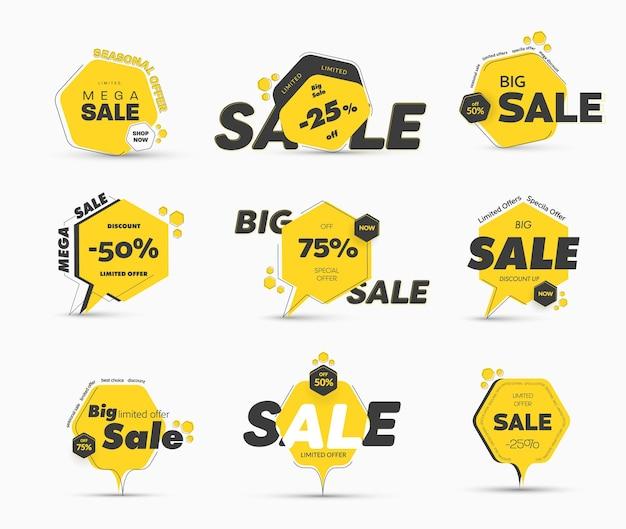 Set di etichette gialle a forma di esagono con un tratto sottile, per una grande vendita. banner di modelli con una percentuale di sconto.