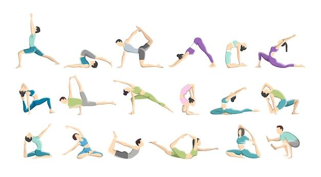 Set di asana yoga o esercizio per uomini e donne. salute fisica e mentale. rilassamento del corpo e meditazione. illustrazione