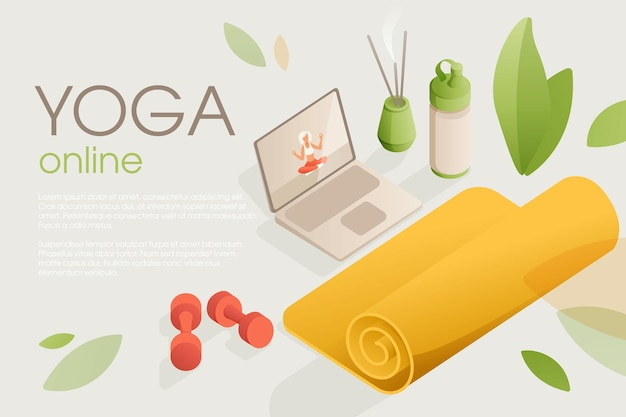 Set di attrezzature per lo yoga per l'allenamento a casa con una video lezione sul laptop