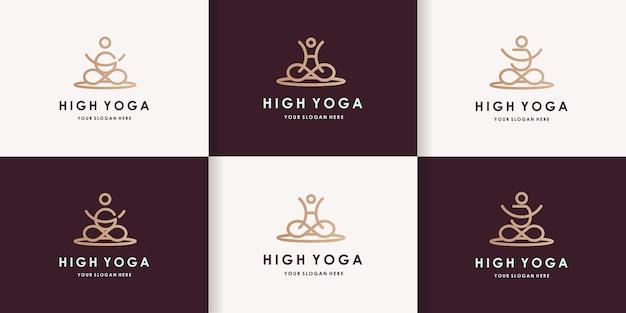 Set di design del logo yoga con lettera ghj