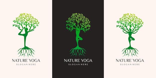 Set di vettore logo yoga, una meditazione donna in luogo naturale