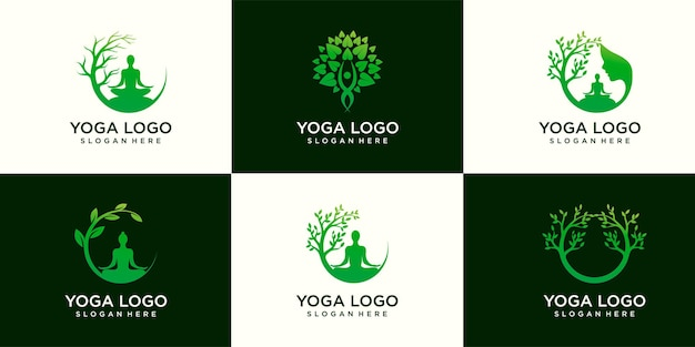 Set di vettore logo yoga, una meditazione femminile in luogo naturale.