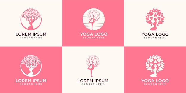 Set di logo yoga, una meditazione donna in luogo naturale.