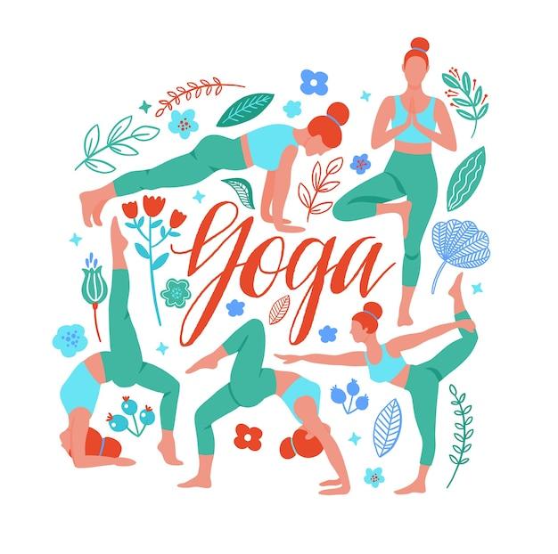 Una serie di pose yoga con illustrazione di tendenza per lo sport e il fitness.