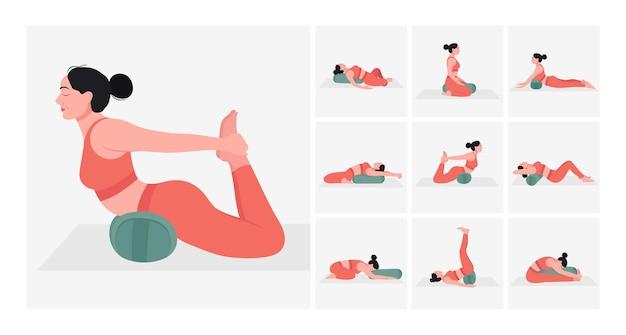 Set di posizioni yoga con sostegno yoga giovane donna che pratica posizioni yoga