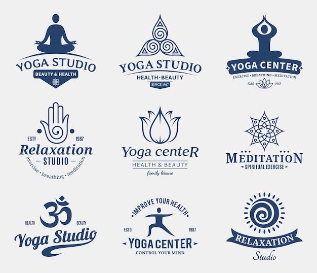 Set di studio di yoga e logo di classe di meditazione