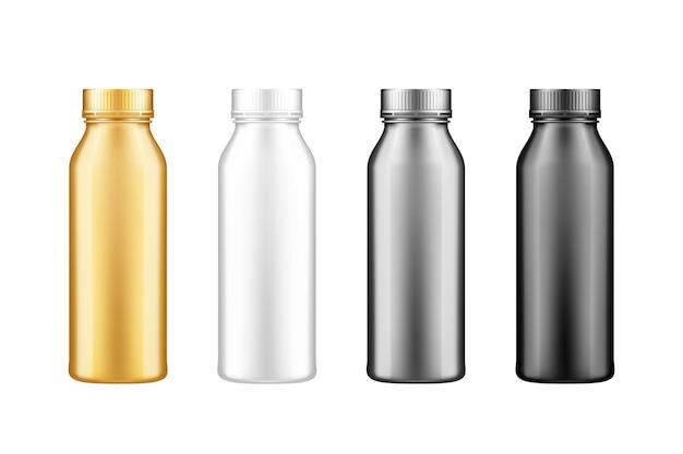 Set di bottiglie di yogurt, latte, succo o shampoo con mockup di coperchio isolato su sfondo bianco.