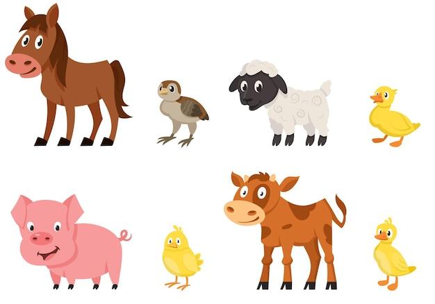 Set di vista laterale di animali giovani. animali da fattoria in stile cartone animato.