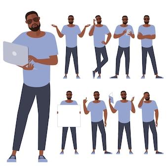 Set di caratteri di giovane uomo di colore