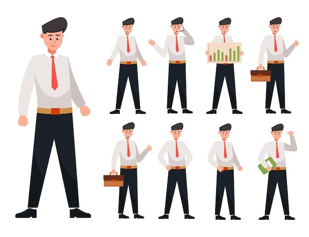 Set di giovane uomo d'affari in postura diversa, personaggio dei cartoni animati