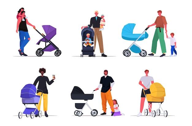 Impostare i giovani padri che camminano all'aperto con i bambini in passeggini paternità genitorialità concetto papà trascorrere del tempo con i bambini a figura intera illustrazione vettoriale orizzontale
