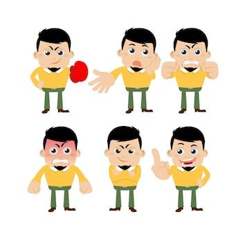Set di personaggi di giovani in diverse emozioni.