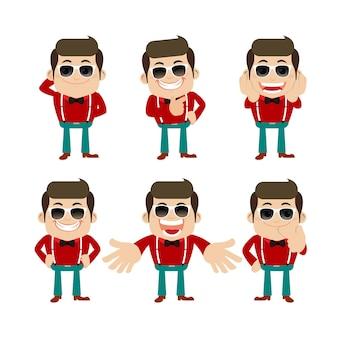 Set di personaggi di giovane uomo in diverse pose