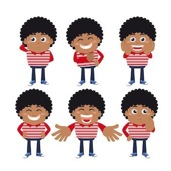 Set di personaggi di giovani in diverse pose