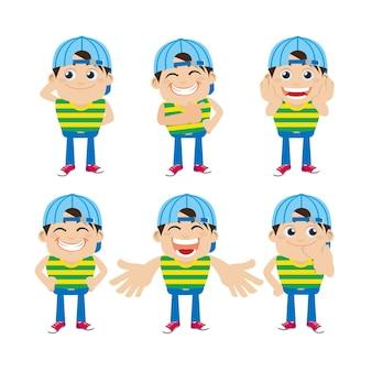 Set di personaggi di giovani con diverse emozioni