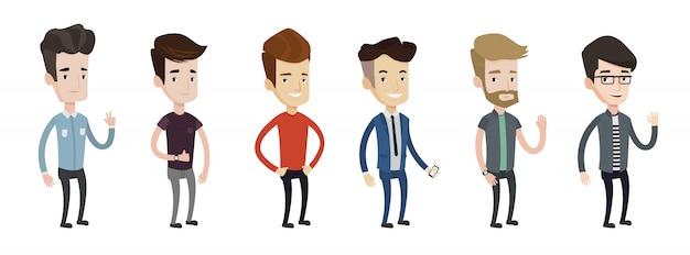Serie di illustrazioni di giovane uomo.