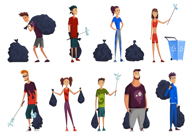 Set di giovane uomo e donna con pacchetti e bastoncini. raccolta dei rifiuti. il volontario raccoglie i rifiuti. consapevolezza dell'inquinamento da plastica, protezione dell'ambiente e design a tema ecologico