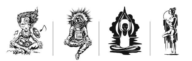 Set di giovani medita il 21 giugno giornata internazionale dello yoga illustrazione vettoriale