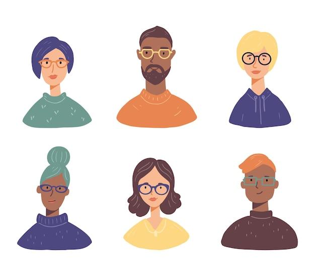 Set di avatar di giovani con gli occhiali