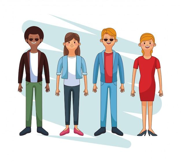 Set di cartoni animati di giovani