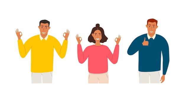 Set di giovani che mostrano un pollice in alto e un gesto della mano ok