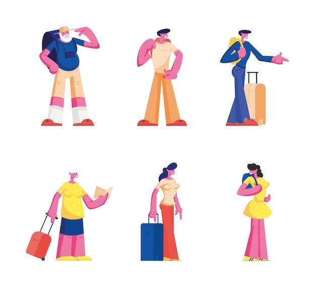 Set di giovani e anziani che leggono in biblioteca. donne e uomini che cercano libri. cartoon illustrazione piatta