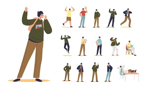 Set di maglione hipster uomo fumetto giovane adolescente o scolaro in diverse situazioni di stile di vita e pose: scrittura in taccuino, procrastinare sul posto di lavoro, studente a piedi. illustrazione vettoriale piatta