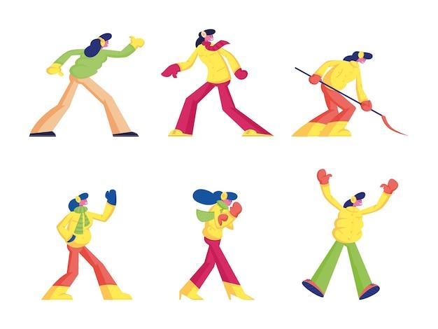 Set di giovane donna godersi le attività del periodo invernale. cartoon illustrazione piatta